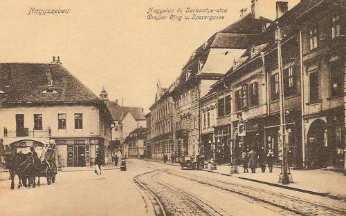 Nagyszeben:Sarkantyú utca és Nagypiac.1917
