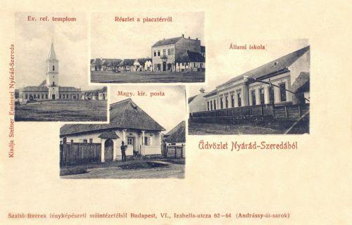 Nyárádszereda:református templom,posta,iskola.1904