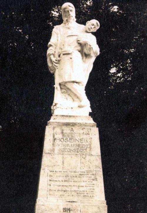 Nyitra (Felvidék):első honvéd mlékmű,Finta Sándor szobrász alkotása,Szathmáry István versével 1919 .