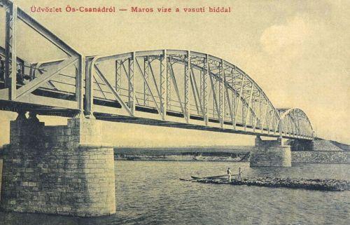 Őscsanád:Maros folyó a vasúti hiddal.1908