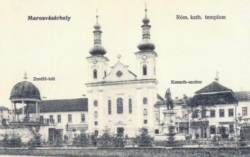 Marosvásárhely:Bodor zenélő kút,katolikus templom,Kossuth szobor.1905