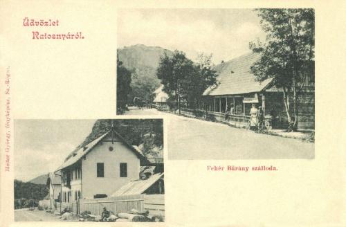 Ratosnya:Marconi olasz útépitő mérnök háza,Fehér Bárány szálloda,1902