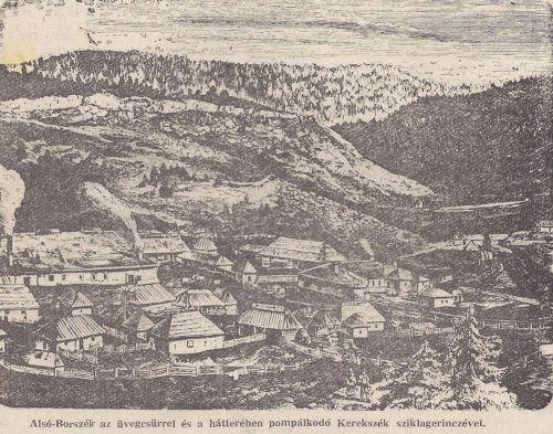 Alsó-Borszék:balra az üveggyár.(rajz metszet Orbán Balázs fényképe után)