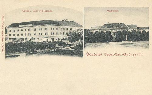 Sepsiszentgyörgy:Megyeháza és Székely Mikó Kollégium.1902
