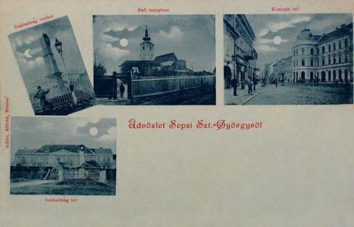 Sepsiszentgyörgy:Milleniumi szobor,Szabadság tér,református templom,Kossuth tér.1899