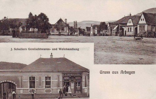 Szászegerbegy:fő utca és Schuller üzlet.1907
