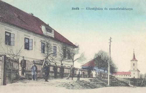 Szék:Községháza,csendőrlaktanya és templom.1915