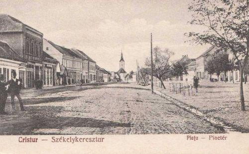 Székelykeresztúr:piac tér a templommal.1928