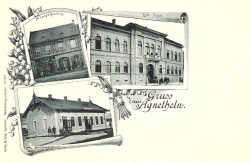 Szentágota:városháza,vasútállomás,üzlet.1899