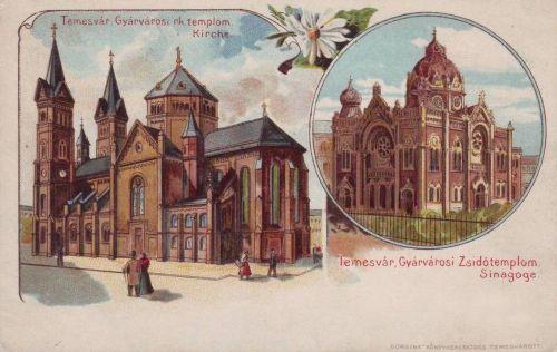 Temesvár:katolikus templom és zsinagóga(lito).1900