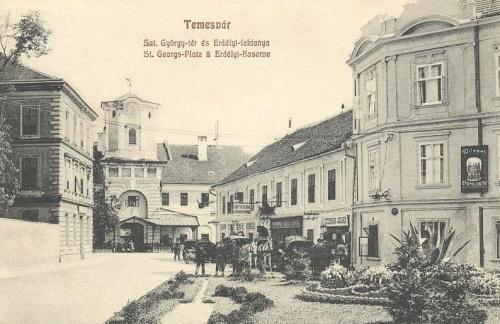 Temesvár:Szent György tér,Erdélyi laktanya,jobbra pilzeni sörcsarnok.1908
