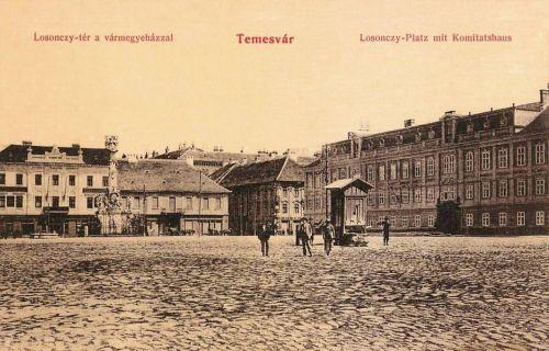 Temesvár:Losonczy tér a vármegyeházával és Szentháromság szoborral.1912