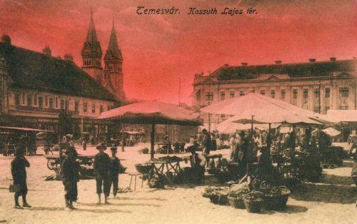 Temesvár:Kossuth Lajos tér a piaccal és a Milleniumi templommal.1916