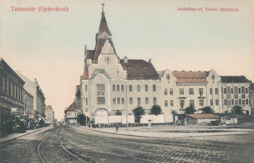Temesvár:Andrássy út,városi bérpalota.1909