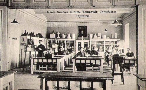 Temesvár:Iskola Nővérek Intézete,rajzterem.1912