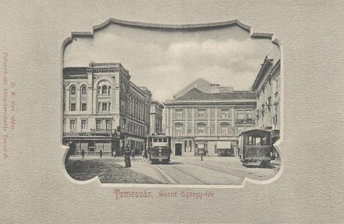 Temesvár:Szent György tér villamosokkal.1903