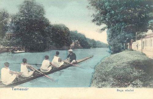 Temesvár:Béga részlet a kajakosokkal.1903