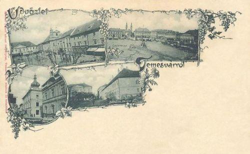 Temesvár:Jenő herceg-Losonczy-Balázs tér és Hungária szálloda.1897