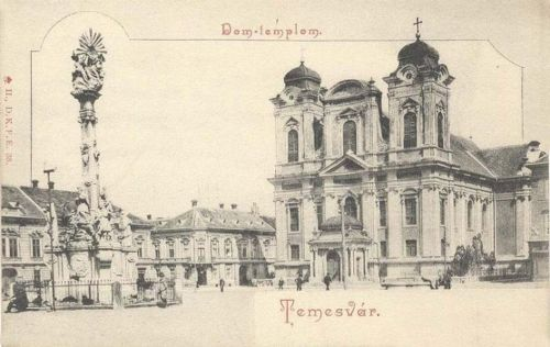Temesvár:Dóm és Szentháromság szobor.1900