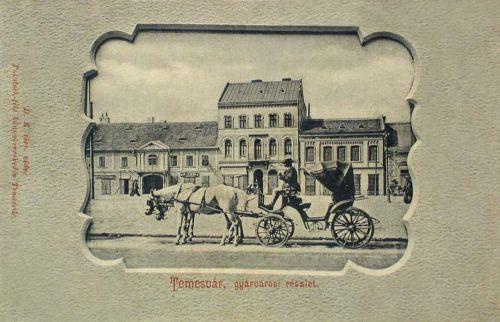 Temesvár:Gyárváros,részlet hintóval.1903