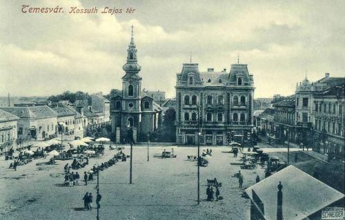 Temesvár:Kossuth Lajos tér a piaccal.1912