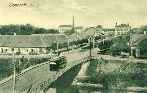 Temesvár:Úri utca villamossal és a vasútállomással.1912