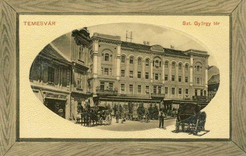 Temesvár:Szent György tér a szállodával.1912