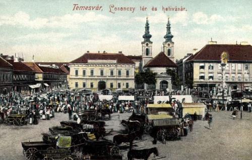 Temesvár:Losonczy-tér és hetivásár,1905.