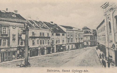 Szent György-tér:Várneky és Schwarcz üzletek,1902.