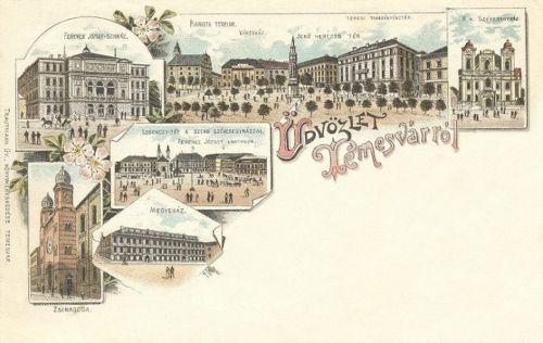 Temesvár:zsinagóga,megyeháza,Ferencz József szinház.1898