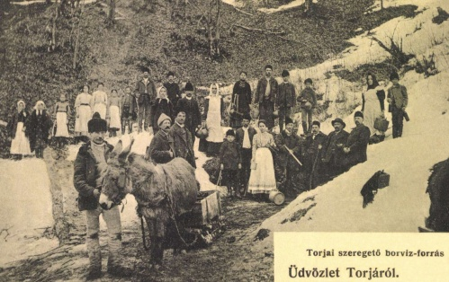 Torja:szeregető borviz-forrás,szamár vontatású szánnal,1906