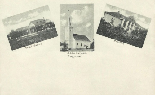 Vargyas:DAniel család kastélya és az unitárius templom.1916