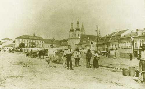 Vásár a Széchenyi téren (még Kossuth szobor nélkül),1896 körül.