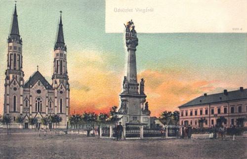 Vinga:katolikus templom és Szentháromság szobor.1905