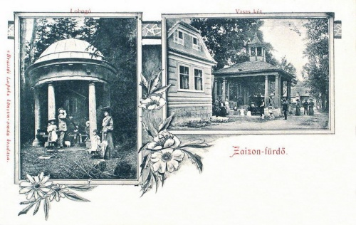 Zajzon fürdő:Lobogó forrás és vasas kút.1906