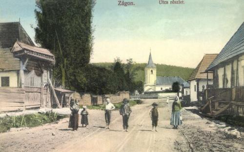 Zágon:utca részlet a református templommal,1914.