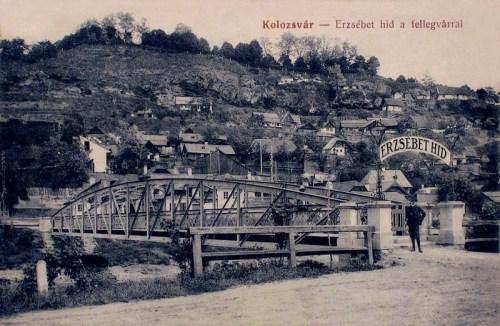 Kolozsvár:Erzsébet hid a Fellegvárral.1912