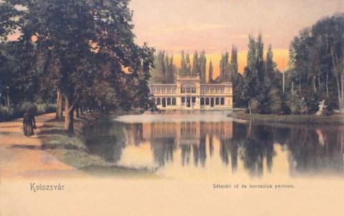 Kolozsvár:sétatéri tó és korcsolya pavilon.1904