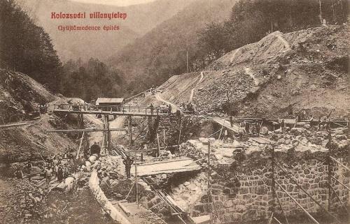 Kolzsvár:villanytelep,gyűjtőmedence épitése.1908