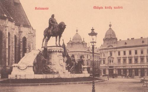 Kolozsvár:Mátyás király szobra.1908
