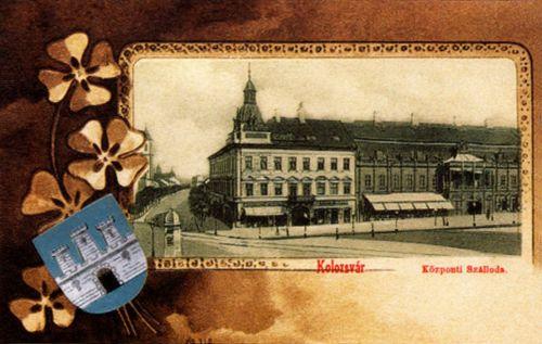 Kolozsvár,szecesszió-kőnyomat:Központi szálloda 1901