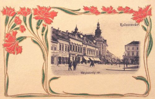 Kolozsvár:Mátyás király tér a New York palotával.1900