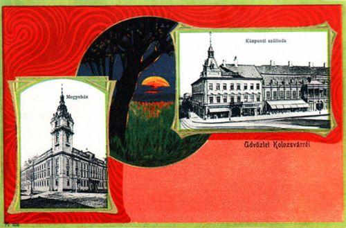 Kolozsvár,Megyeháza és Központi Szálloda 1901