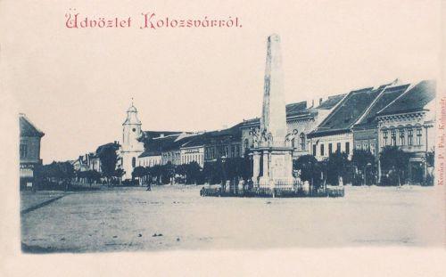 Kolozsvár:Karolina oszlop eredeti helyén,hátul a Minorita templom.1897