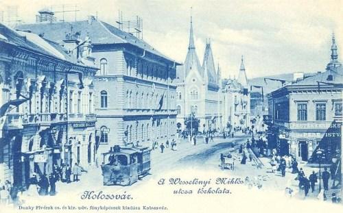 Kolozsvár:Wesselényi Miklós utca, gőzmozdony.1899