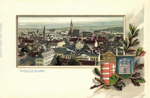 Kőnyomat és dombornyomat a magyar és a város cimerével,1902.
