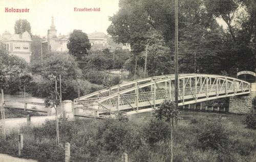 Kolozsvár:ERzsébet hid a nyári szinház felé,1908.