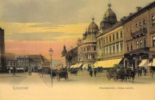 Kolozsvár:Mátyás király tér és Státus paloták,1905-ben.