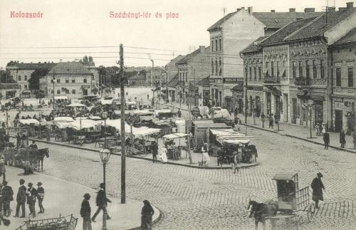 Kolozsvár:Széchenyi tér és piac,1908.