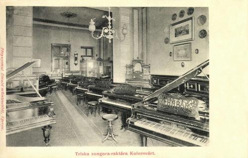 Triska eladó zongora raktára,1902-ben.